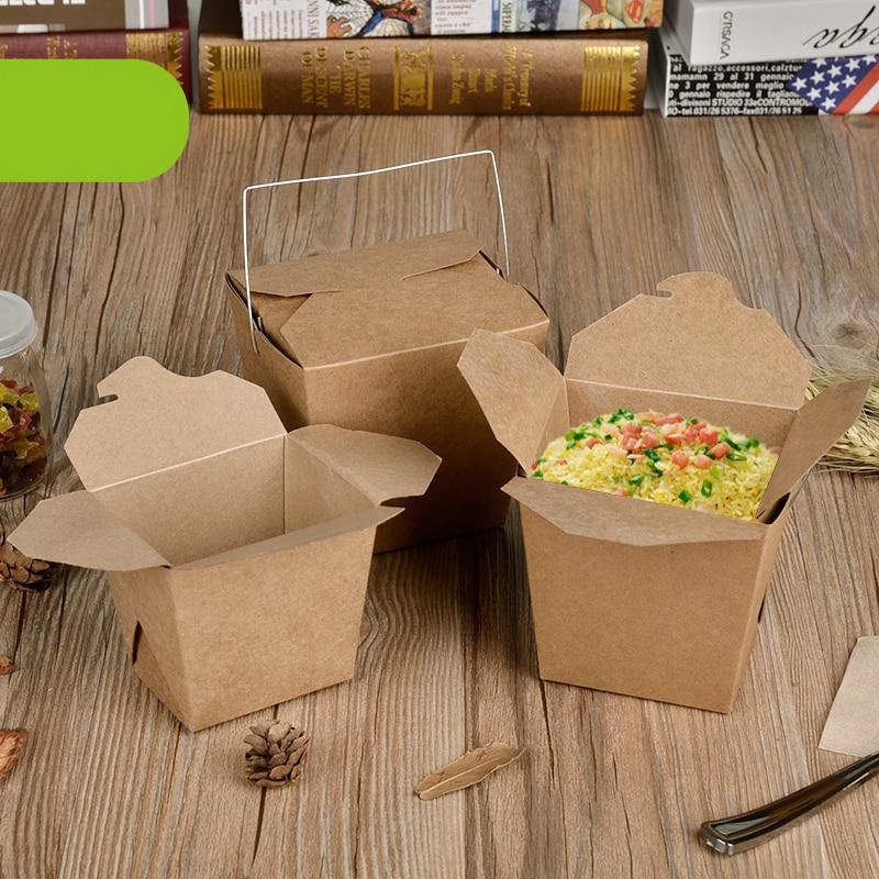Desechable caja de almuerzo de papel Kraft con mango creativo para - Para fiestas y celebraciones - foto 2