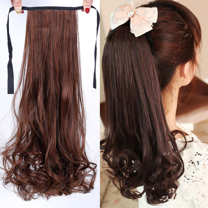 MEIFAN 22 Inch Long Wave Curly Ponytail Clip In Hair Extensions Black Blonde Synthetic Ponytail Hairpieces for Women(China)