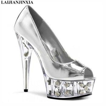 LAIJIANJINXIA New 15cm High Heels Dancing Pumps Heel With Platform Lady Shoes Shiny Sexy Cosplay Platform Dance Shoes