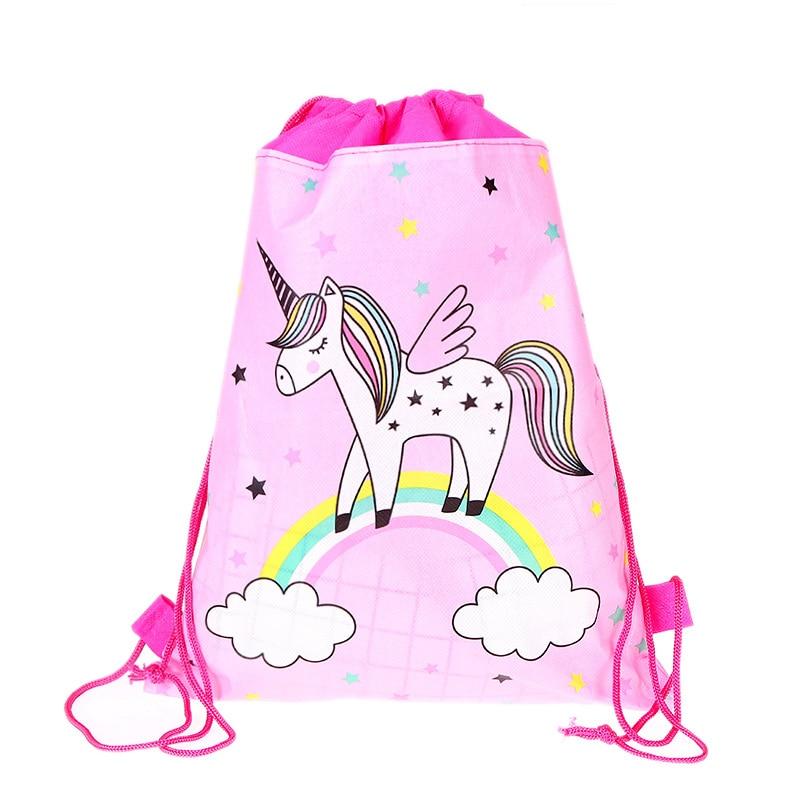 Unicorn Drawstring Bag For Girls Travel Storage Package Cartoon School Backpacks Children Birthday Party Gift