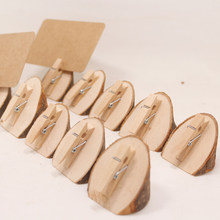 10pcs/lot Natural Digital bevel Wooden Clips home Decorations Photo Clips For Message Cards Office Supply Wedding Supplies(China)