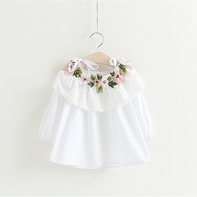 03a2a1169005 Girls Tops 2017 Newest Design lace Girls Clothes autumn Fashion  shoulderless petal shirt for toddler girls Clothing 2t-8