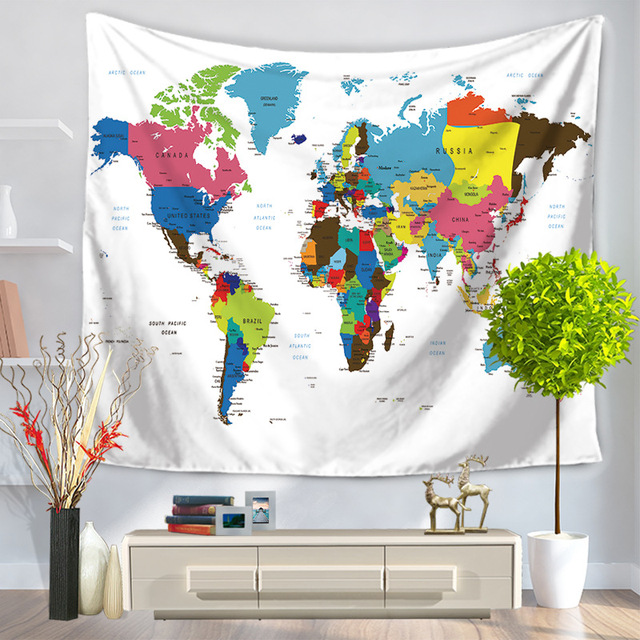 Lannidaa world map tapestry home decor wall hanging small large lannidaa world map tapestry home decor wall hanging small large black white blue decorative hippie wall gumiabroncs Image collections