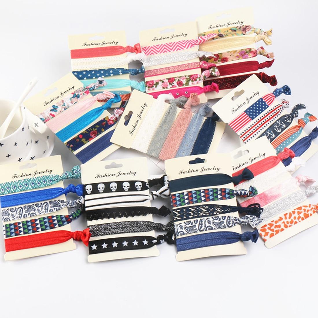 5PCS/Pack Women Trendy Tassel Elastic Hairband Bowknot Hand Band For Girls Hair Ties   Headwear   Tie Gum Rope Hair Accessories