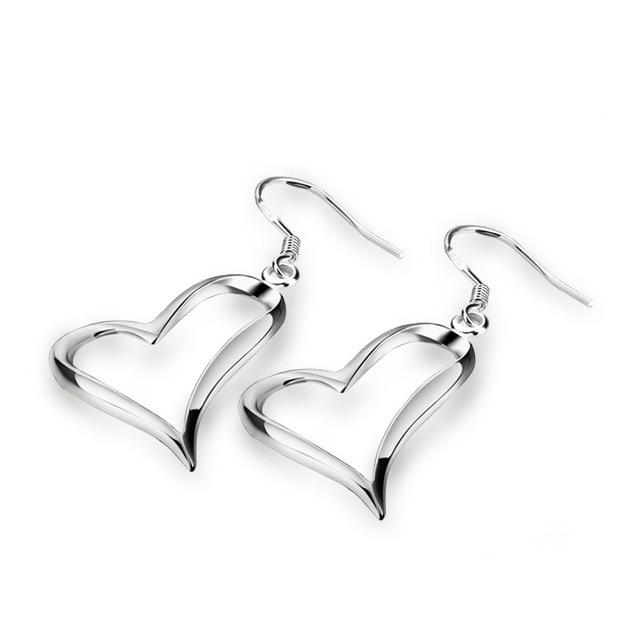 New Design Sterling Silver Heart Charm Women Earrings Solid 925 Not Allergic