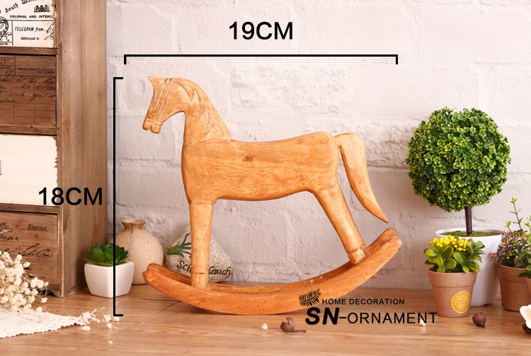Wood Rocking Horse Figurine [Solid Color]