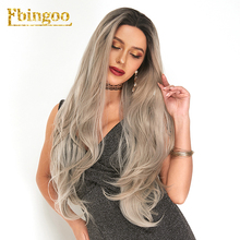 Ebingoo 2 Tones Ombre Grey Synthetic Lace Front Wig with Dark Roots Peruca Long Natural Wave  for Women High Temperature Fiber