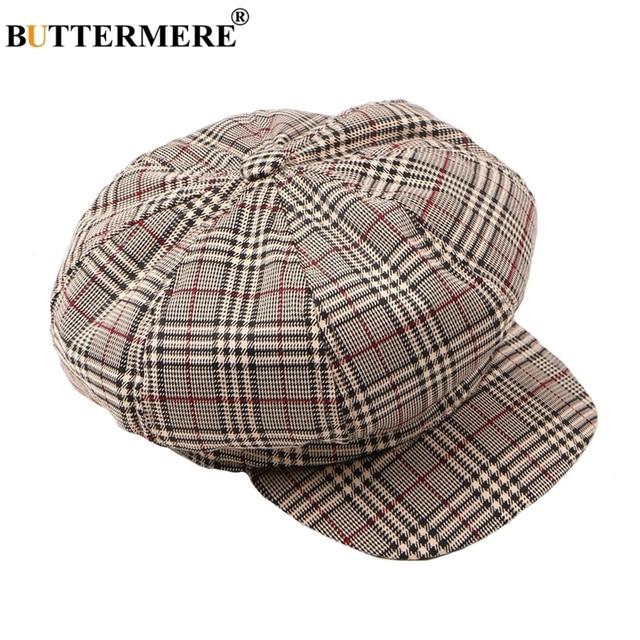 8f1e4023b1c BUTTERMERE Octagonal Hats Women Plaid Flat Caps Casual Vintage British  Female Newsboy Gatsby Cap Oversized Cotton Stylish Spring