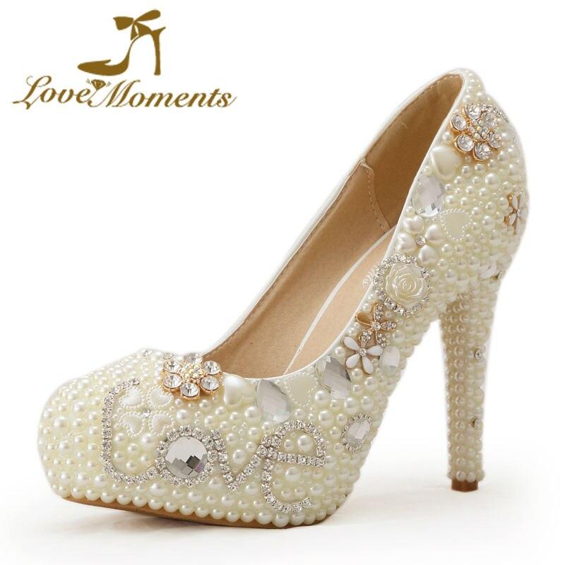 2018 amour strass confortable chaussures de fête de mariage 4 pouces talon aiguille mariée robe chaussures ivoire perle à la main pompes taille 12