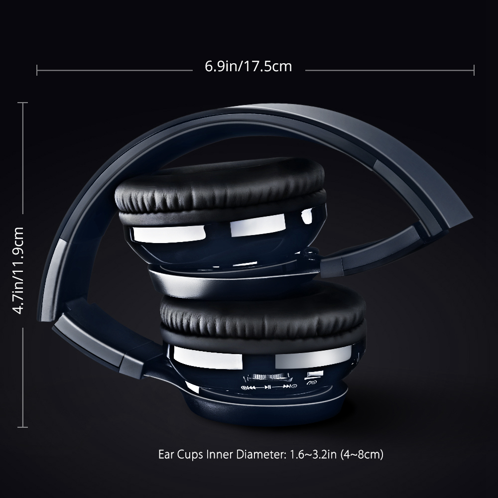 New MPOW Thor Bluetooth Headphone Foldable Stereo Wireless Headset Over-ear w/ Soft Protein Ear Pads, Mic, AUX for Smart Phones