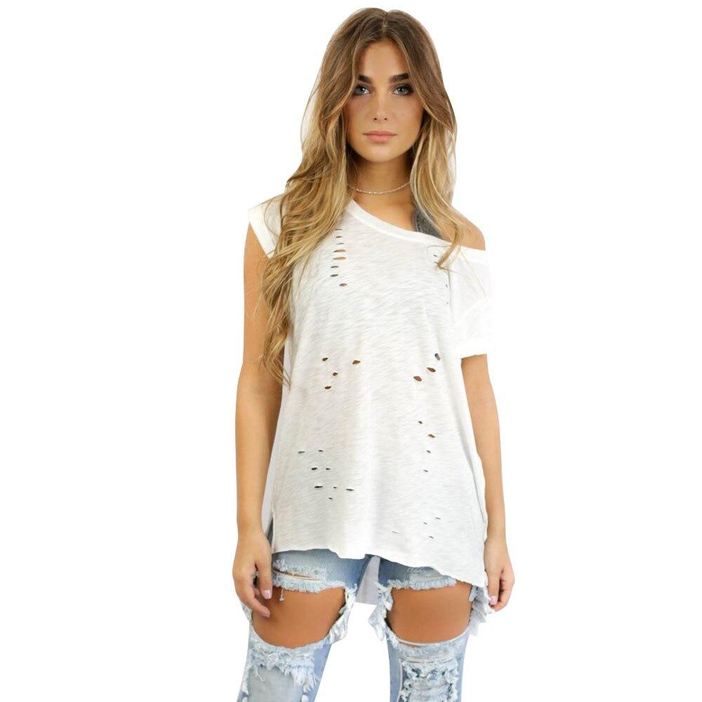 2017 New Women Tops Summer Ladies T shirts Sexy Cool Ripped Crop Tops Fashion Irregular Hollow Out Short Sleeve Tee Shirt Femme como rasgar uma camiseta feminina