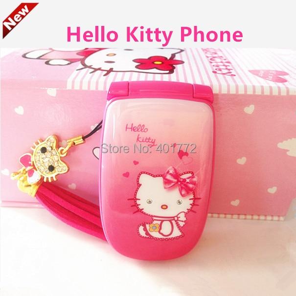 Cute Hello Kitty Flip Cell Phone W88 Luxury Rinestone Music Flash Light Mini Girl Lady Children