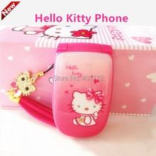 Cute Hello Kitty Флип Мобильный Телефон W88 Роскошные Rinestone Музыка вспышка Света Мини-Девушка Дети Мобильного Телефона H-мобильный W88