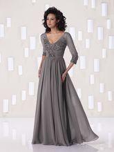Sexy V-ausschnitt Halbarm Grau Lange Prom Kleider 2015 Chiffon Sicke Abendgesellschaft Kleid Vestidos de fiesta Longo