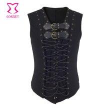 Steampunk Vest Men Suit Gilet Homme Black Belt Buckle & Lace Up Sleeveless Waistcoat Jacket Victorian Gothic Vintage Corset Vest paisley lace up corset vest
