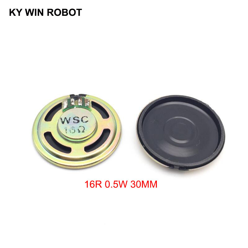 2pcs/lot New Ultra-thin speaker 16 ohms 0.5 watt 0.5W 16R speaker Diameter 30MM 3CM thickness 5MM