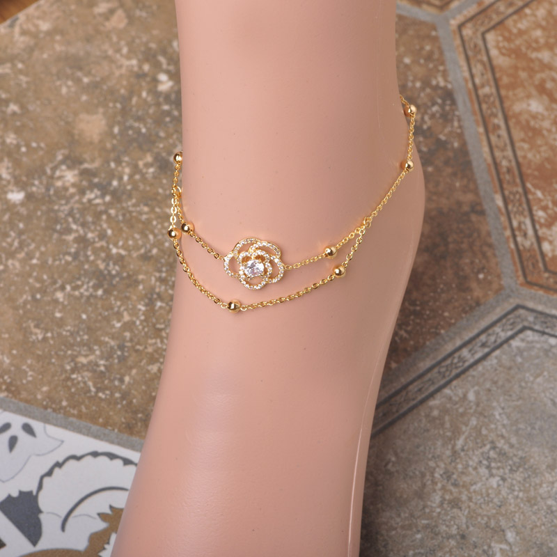 Copper Jewelry Anklets 18K Gold Plated Rose Flower Ankle Bracelet Cheville Beads Barefoot Sandals Women Girls