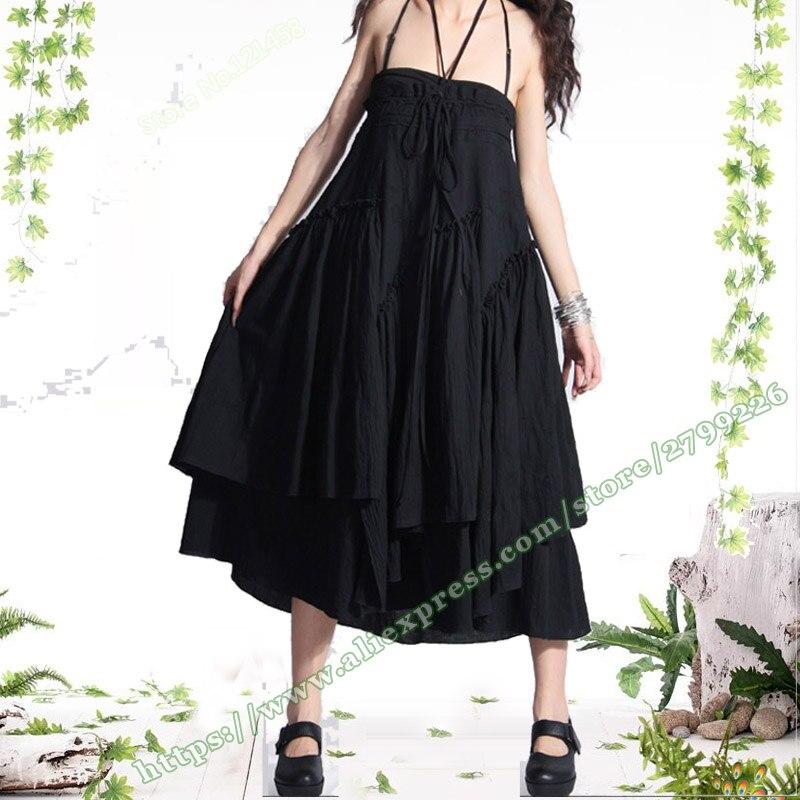 Verano Algodón 5xl Largas Femenina Asimétrico Faldas Otoño Más De Maxi Vintage Plisada Lino Tamaño Mujer Xxxxxl Negro 2018 dSCqxd
