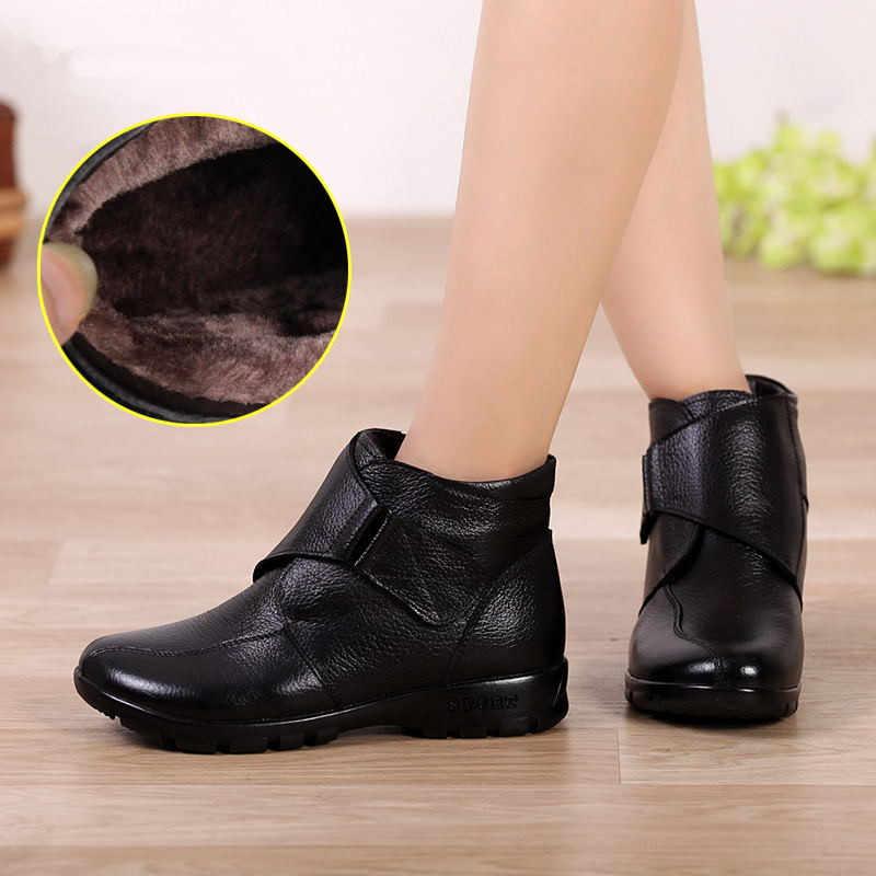MUYANG marques chinoises chaussures d'hiver femme en cuir véritable plat neige bottes décontracté bottines femmes chaud mère chaussures femmes bottes