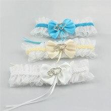 Подвязки невесты сексуальный кружевной с бантом свадебные подвязки Стразы Сердце Эластичные подтяжки невесты Бедро кольцо невесты ноги подвязки