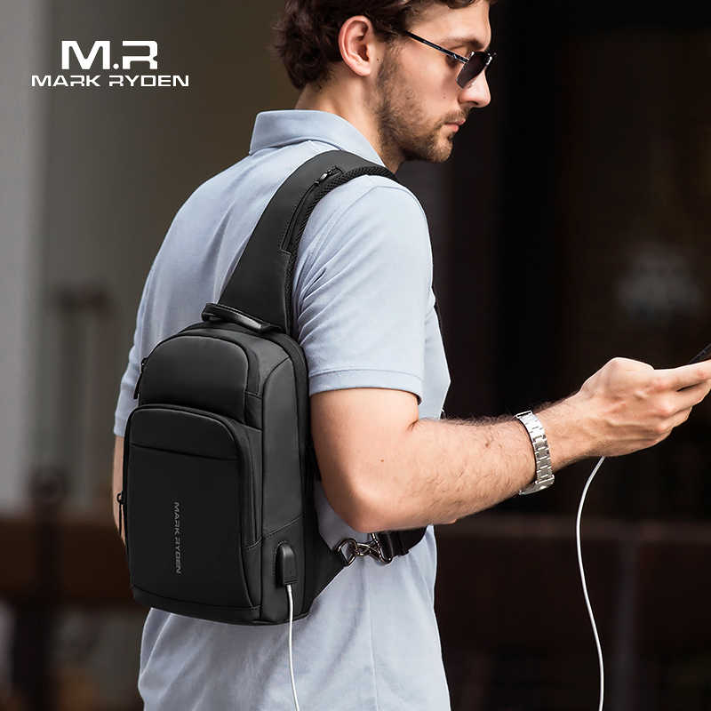 Mark Ryden New Anti-thief Sling Bag Waterproof Men Crossbody Bag Fit 9.7 inch Ipad Fashion Shoulder Bag
