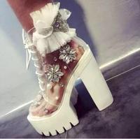 Хрустальная жемчужина ручной работы туфли лодочки с бусинами для 2018 г. женские красивое кружево с цветами туфли лодочки на платформе и высо