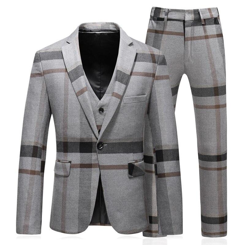 (jacket + Vest + Trousers) New Men's Boutique Plaid Wedding Dress Set 2019 Three-piece Men's Formal Business Casual Outfit