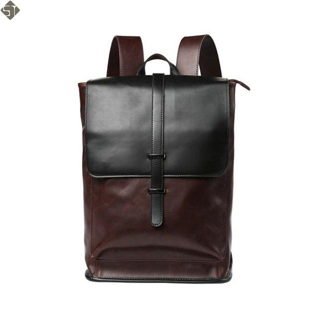 Fashion Crazy horse Leather Men Backpack High quality Men s travel bags  Preppy Style Men school bag Casual Rucksack bags mochila 82d5c62b1b22e