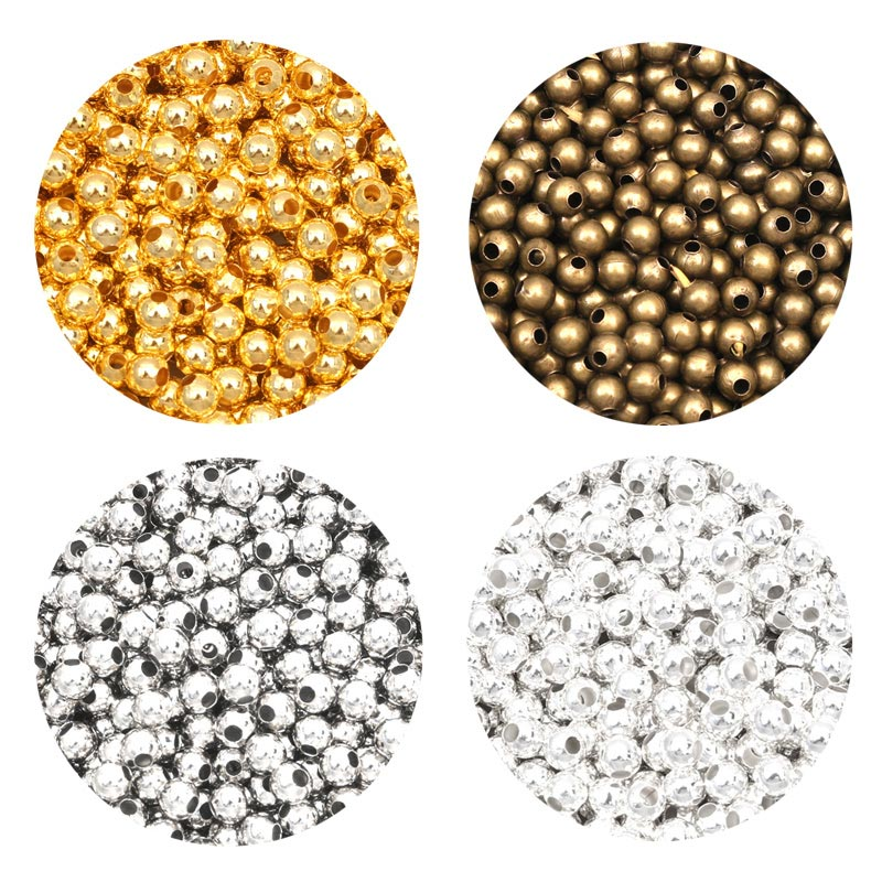 2000Pcs Metal Round Beads Smooth Ball Loose Spacer Beads For Jewelry Making DIY Bracelet Charms Jewelry Accessories 2-10mm