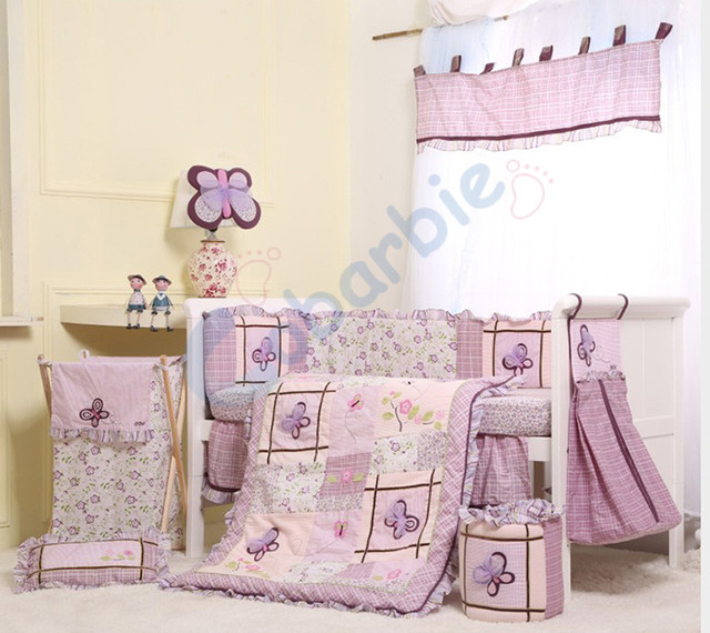 6 pc girl baby bedding set , summer baby crib bedding, cotton baby bedding,baby gift,purple