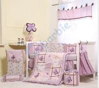 6 pc girl baby bedding set , summer baby crib bedding, cotton baby bedding,baby gift,purple