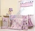 6 unid chica baby bedding set, verano cuna bedding, algodón bebé bedding, regalo del bebé, púrpura