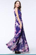2017 Womens Summer Elegant Beach Chiffon Clothing Bohemian Print Maxi Long Party Dress Plus Size 5XL 6XL Vestidos 3084