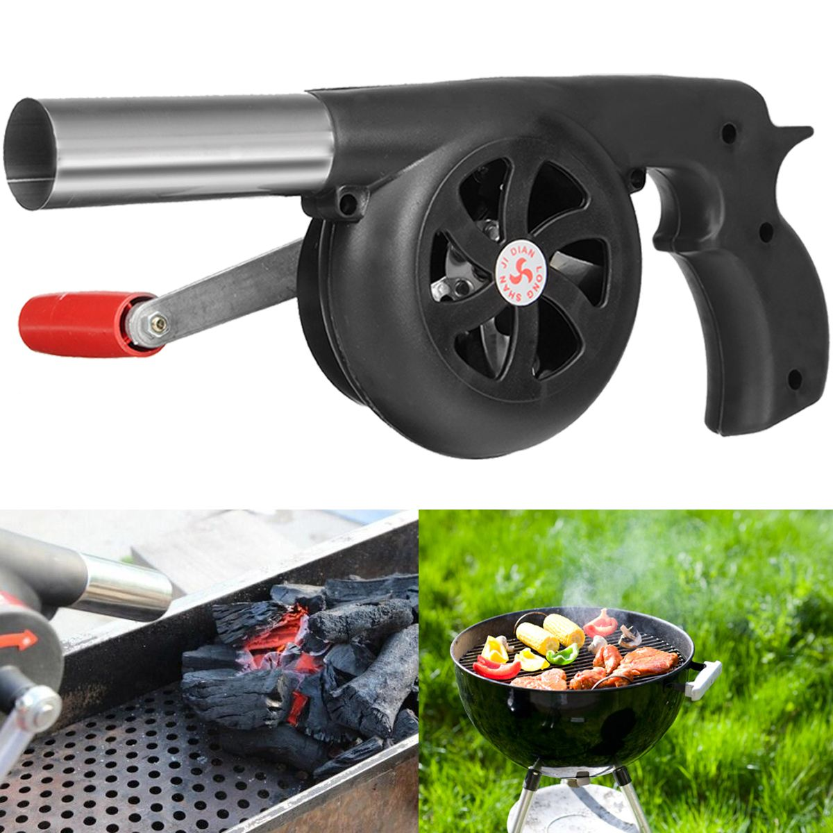 Outdoor Picnic BBQ Barbecue Fan Air Blower Hand Crank Travel Fireplace Camping Hiking Bellows Grill Fired Starter Flame Exciter
