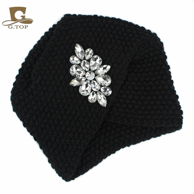 Women LUXURY Silver beaded diamond Warm Knit Beanie Hat Cancer Hat handmade Turban Cap Head Cover for Chemo in Women 39 s Hair Accessories from Apparel Accessories