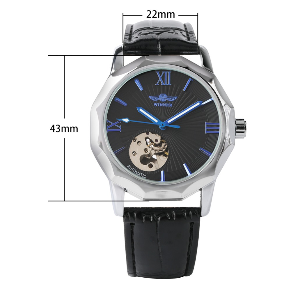 Luxury Brand Silver Case Automatic Mechanical Watches for Men Business Skeleton Watch for Teenagers Leather Watches for Man in Mechanical Watches from Watches