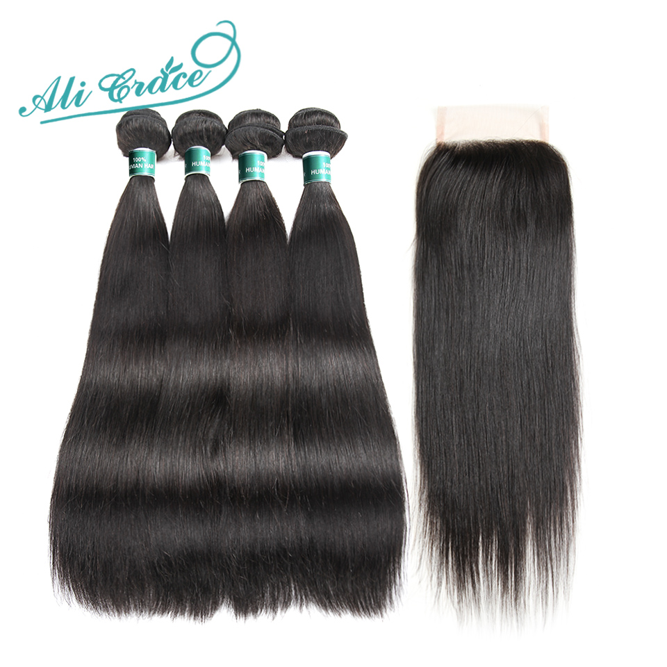 Ali Grace Brazilian Straight Hair With Closure 100 Remy Human Hair 4 Bundles With 4 4