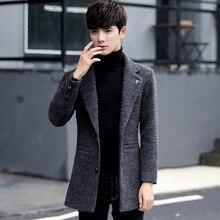 Autumn And Winter Wool Woolen Coat Collar Windbreaker Suit Men S Casual Men's Slim Young Thick Coat