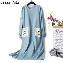 Jinsen Aite Women Causal Sleepwear Cotton Ladies Nightgown New Spring Loose Long Sleeve Large Size Nightshirt Home Clothe JS754