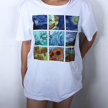Hillbilly Women's Fashion Plus Size Tees & Tops Short Sleeve Modal Casual Female T-shirts White Van Gogh Painting T Shirts Gift