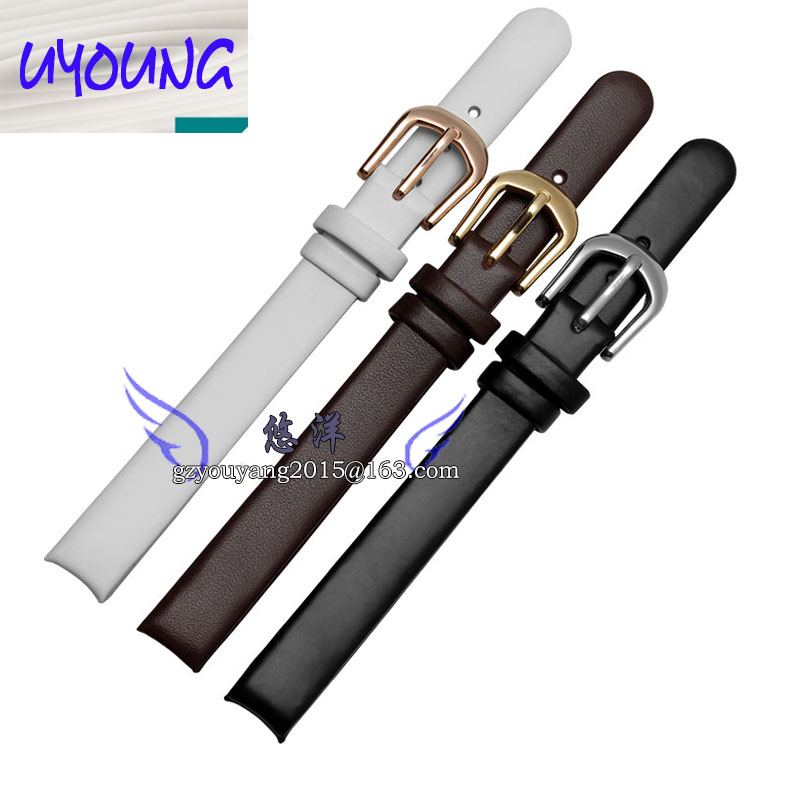 10*10mm Black Brown White Smooth Genuine Leather Watch Band For C-K K4323209 K4323116 K43231LT