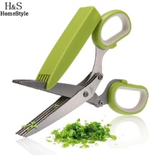 Homdox Durable Stainless Steel Kitchen Knife 5 Layers Scissors Sharping Scallion Cut Herb Spices Scissors Cooking Tool#30-18