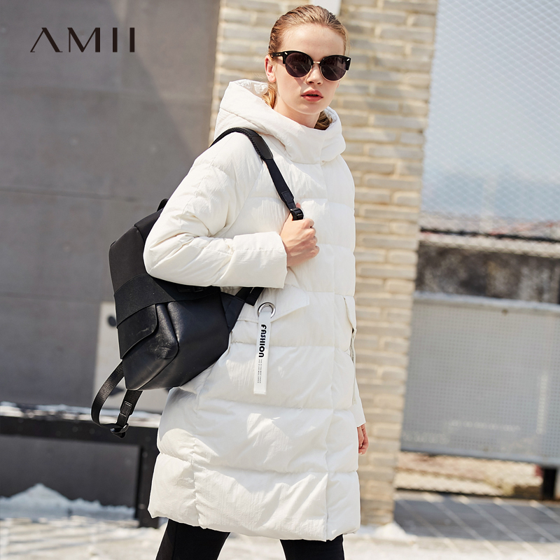 Amii Minimalist 2018 Winter Women Warm Plain Light 90% White Duck Long-sleeve   Down     Coat   Pocket with Hoodies