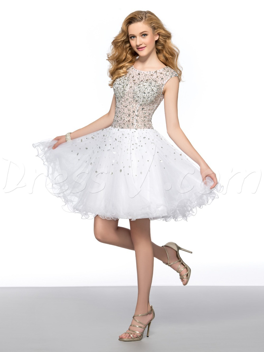 Dazzling Short White Cocktail Dresses Homecoming Dresses Scoop Sheer ...