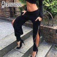 FLODISS Moda Cremallera Lateral Pantalones para Las Mujeres Urbanas Pantalones 2017 Otoño Pantalones Pantalon Streetwear