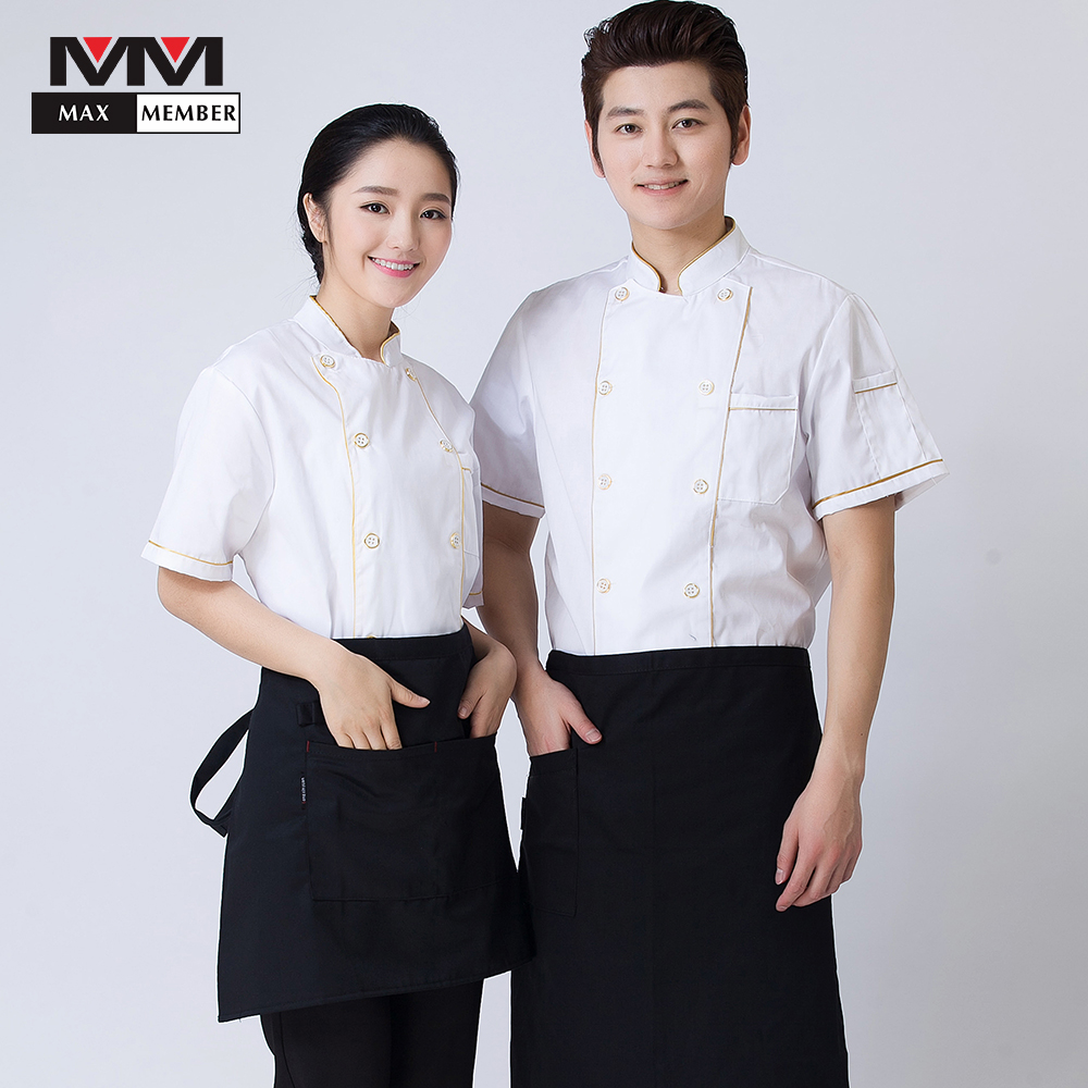 White Double Breasted Men Women Short Sleeve Summer Cooking Uniforms Restaurant Cozinha Kitchen Work Jackets Top Chef Clothing