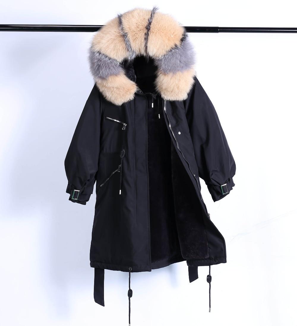 Large Natural Raccoon Fur Winter Jacket Women Hooded 19 Long Parkas For Female Thick Slim Down Winter Coat Women Waterproof 37