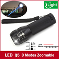 led falshlight 3800 Lumen Zoomable XM-L Q5 LED Flashlight Torch Zoom Lamp Light Black led torch not 3000 2000 Lumen