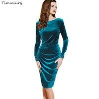 2017 Spring Women New Office Velvet Dress Bodycon Blue Long Sleeves Knee Length Party Dress Zanzea