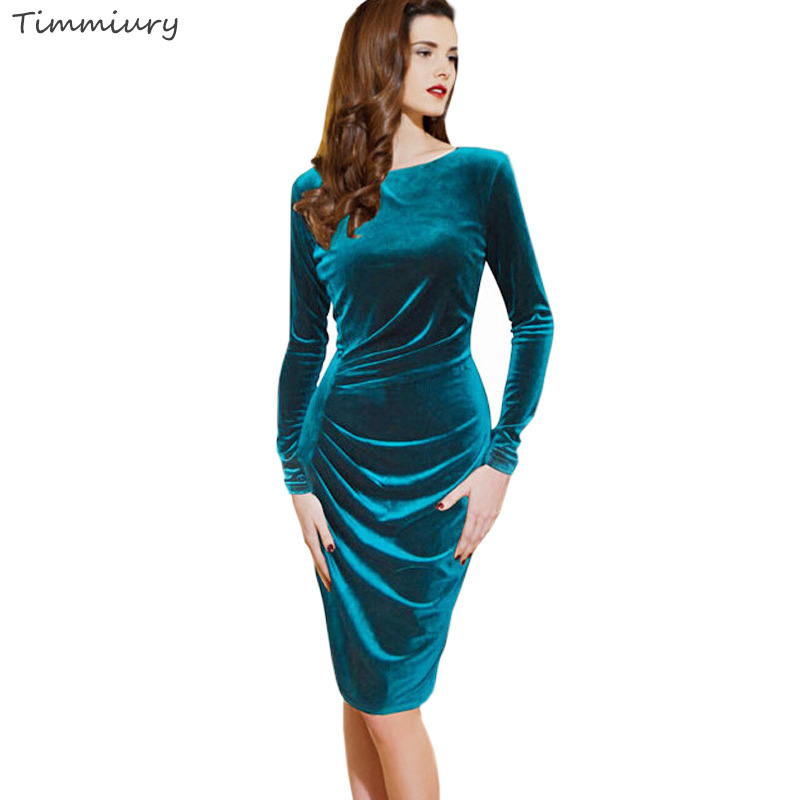 Timmiury 2017 Spring Women New Office Velvet Dress Bodycon Blue Long Sleeves Knee-length Party Dress Fashion Vestido De Festa